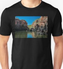 End point of Katherine Gorge river cruise in the dry season in Australia. Unisex T-Shirt