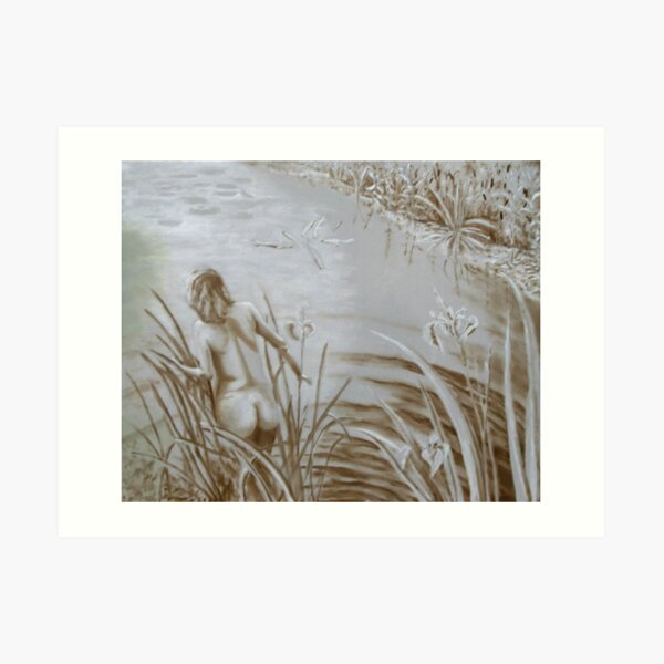Underpainting -Lady by the Lake- Art Print