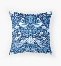 Art Nouveau Bird and Flower Tapestry, Dark Blue    Throw Pillow