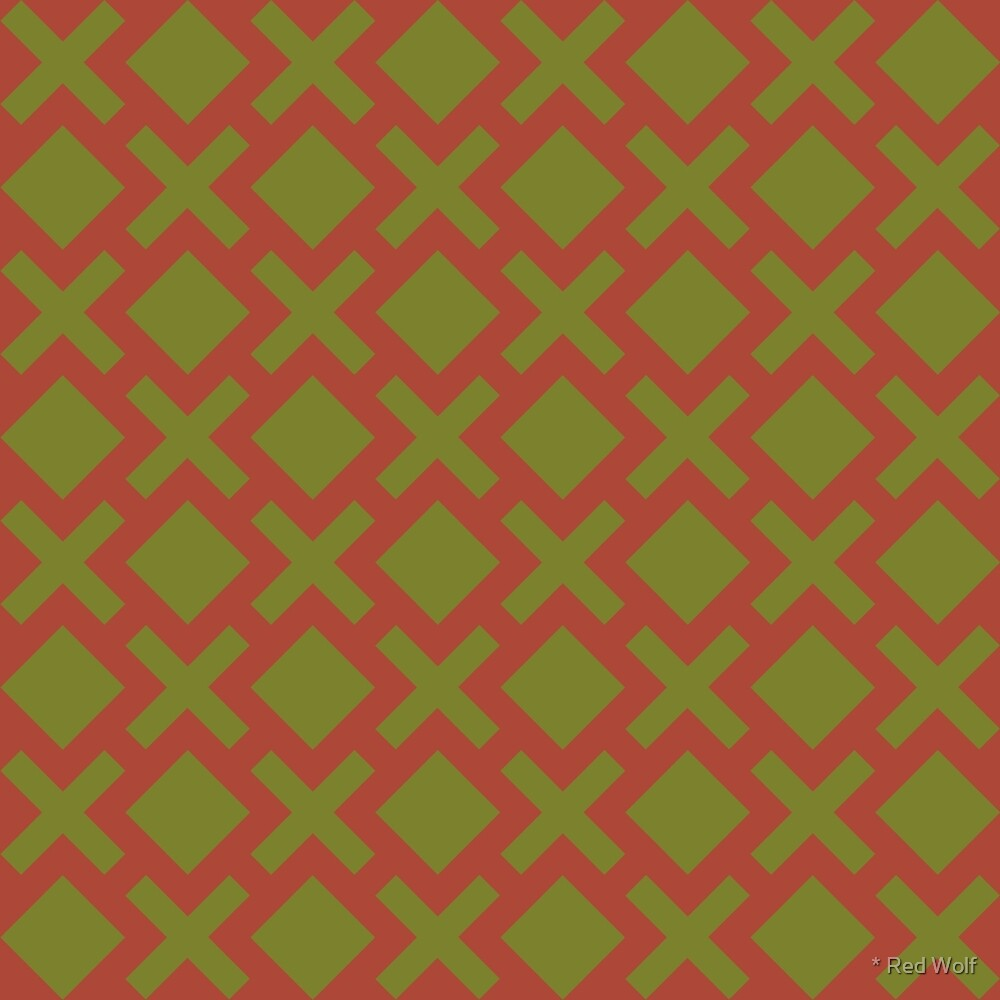 Geometric Pattern: Diamond Cross: Brown/Olive by * Red Wolf