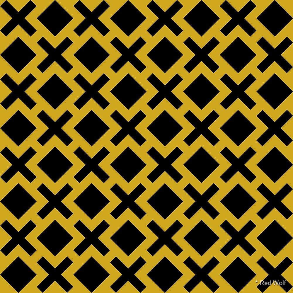 Geometric Pattern: Diamond Cross: Yellow/Black by * Red Wolf