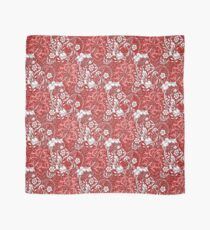 Art Nouveau Seaweed Floral, Coral, Red and White Scarf