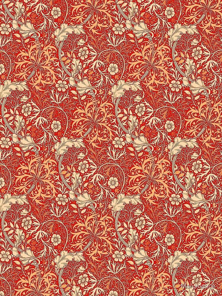 Art Nouveau Seaweed Floral, Coral Orange  by Marymarice