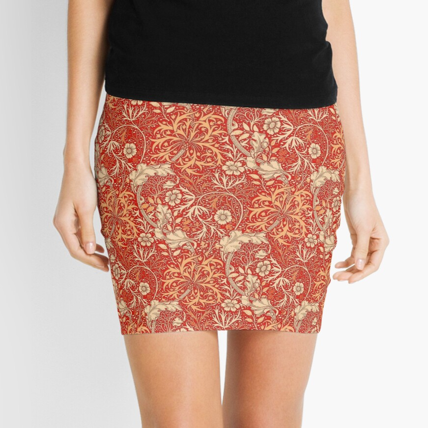Art Nouveau Seaweed Floral, Coral Orange  Mini Skirt