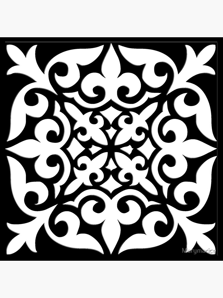 Black and White Moroccan Tile by Marymarice
