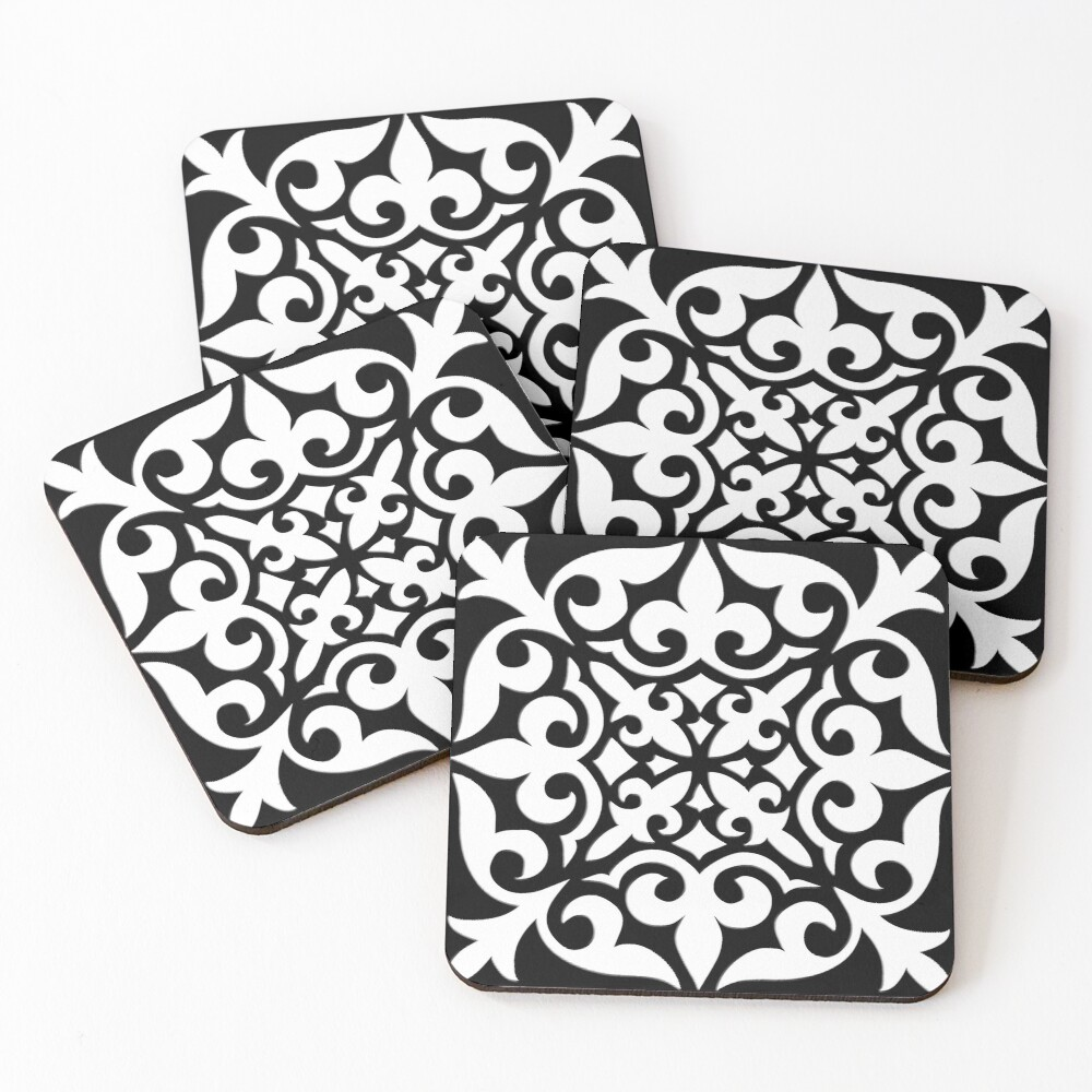 Black and White Moroccan Tile Coasters (Set of 4)