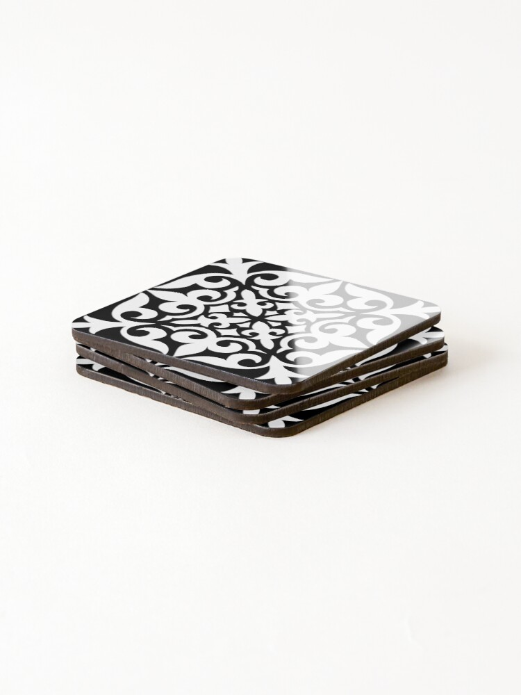 Alternate view of Black and White Moroccan Tile Coasters (Set of 4)