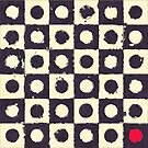 Retro Dark Purple Squares and Cream Dots Pattern with Red Dot by ibadishi