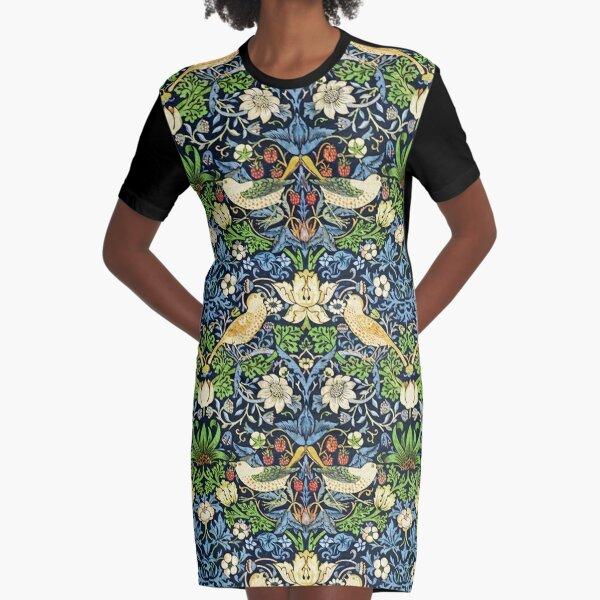 Art Nouveau Bird and Flower Tapestry Graphic T-Shirt Dress