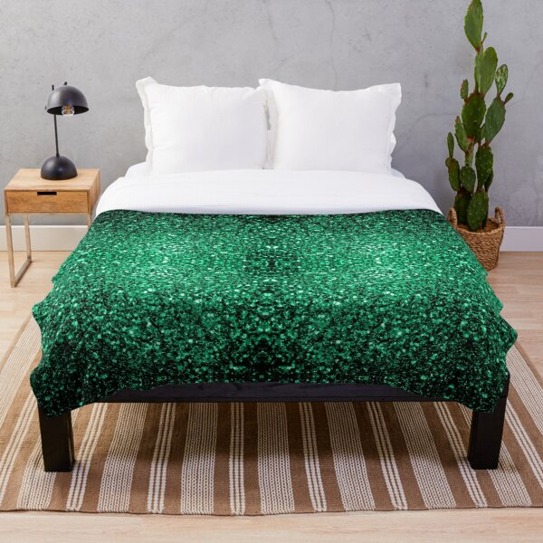 Beautiful Emerald Green glitter sparkles Throw Blanket