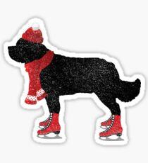 Newfoundland Dog Skating Sticker