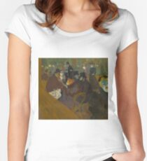 Self-portrait in the crowd At the Moulin Rouge 1892 Henri de Toulouse-Lautrec Women's Fitted Scoop T-Shirt