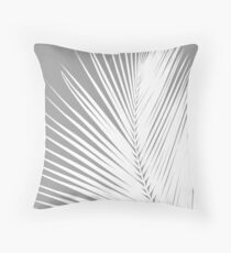 Palm Leaf, Grey / Gray and White Throw Pillow