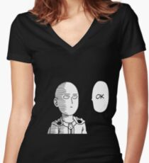 One Punch Man - Saitama OK  Women's Fitted V-Neck T-Shirt