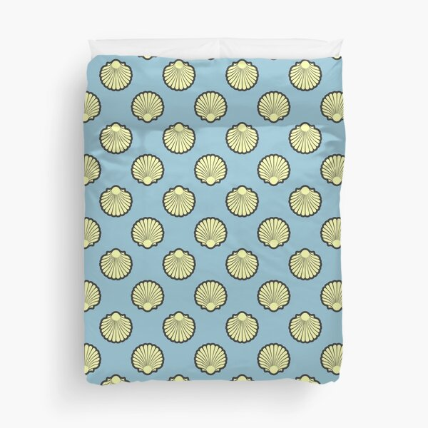 Yellow Scallop Shell Pattern On Blue Duvet Cover