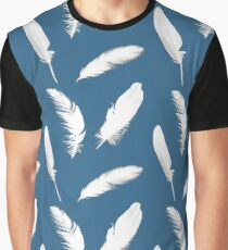 White Feather Print on Denim Blue Graphic T-Shirt