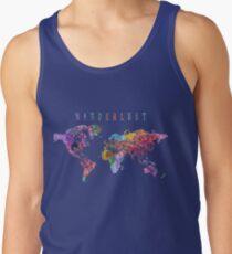 Camiseta de tirantes Wanderlust mapa del mundo acuarela
