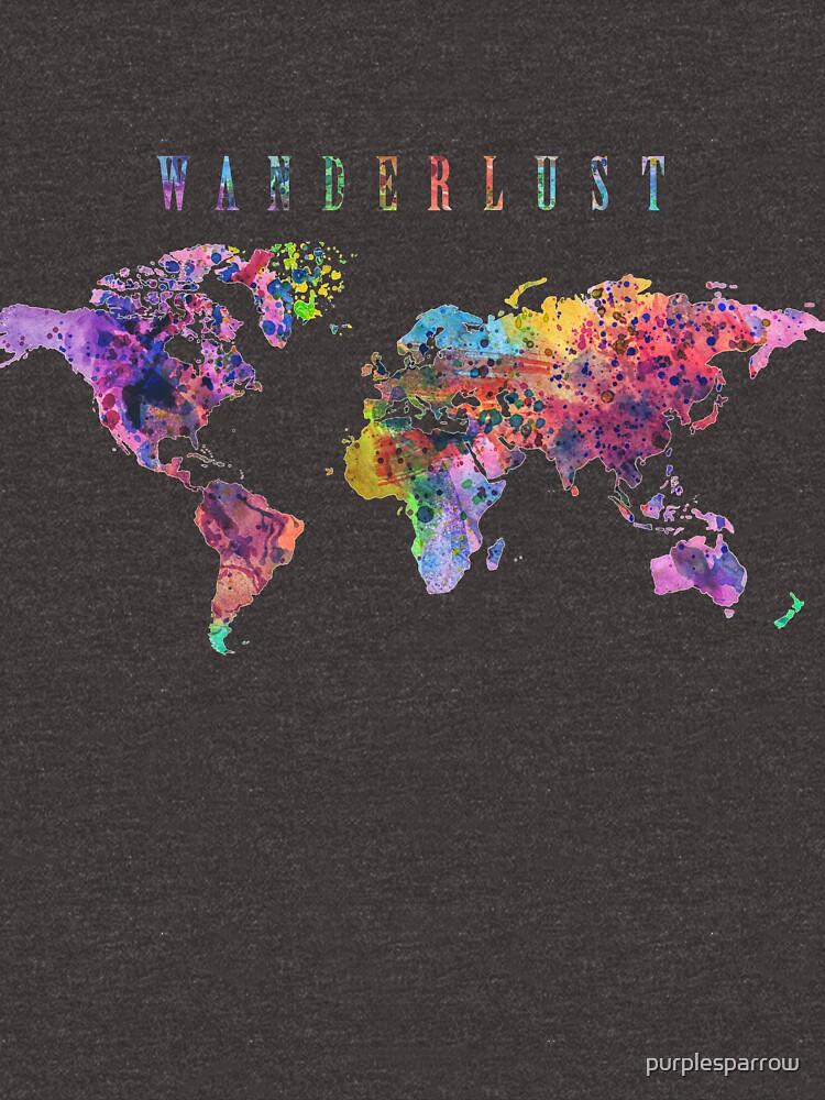 Wanderlust Weltkarte Aquarell von purplesparrow