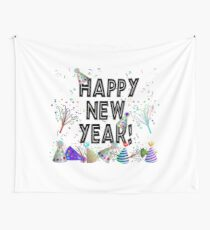 New Years Celebration Party Hats Wall Tapestry