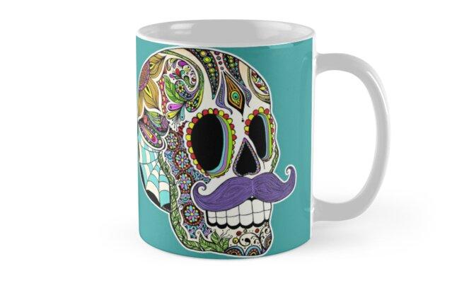 Mustache Sugar Skull (Color Version) by Tammy Wetzel