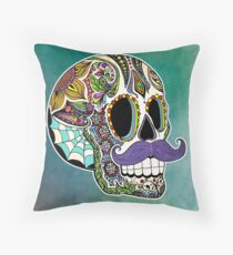 Mustache Sugar Skull (Color Version) Throw Pillow