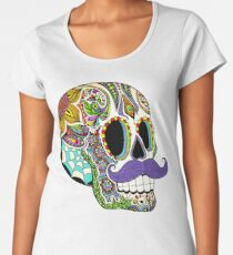 Mustache Sugar Skull (Color Version) Women's Premium T-Shirt