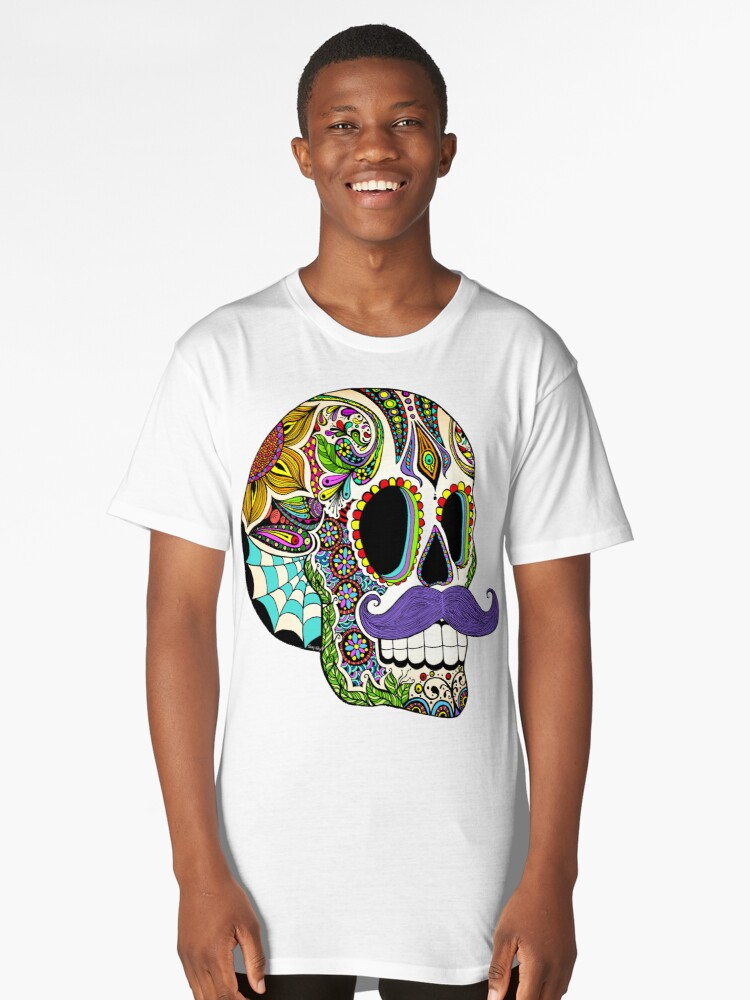 Mustache Sugar Skull (Color Version) Long T-Shirt Front