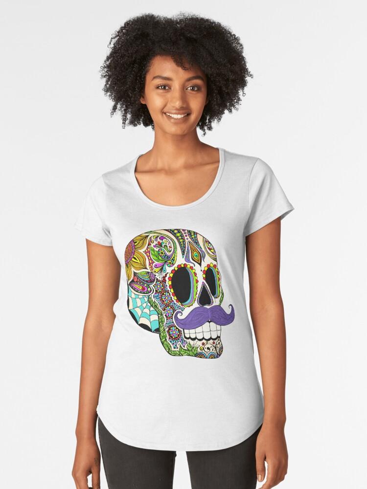 Mustache Sugar Skull (Color Version) Women's Premium T-Shirt Front