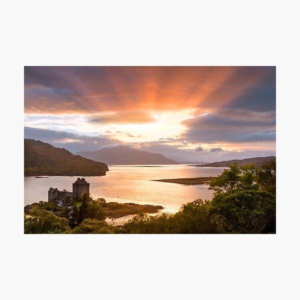Eilean Donan Castle Sunset Sunbeams Carr Brae Scotland. Photographic Print