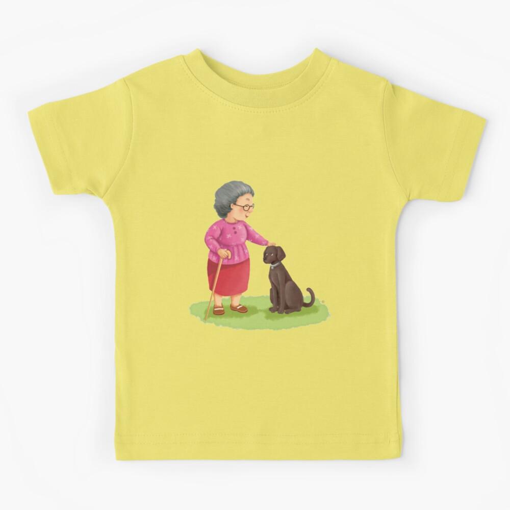 Grandma and Her Chocolate Labrador Kids T-Shirt