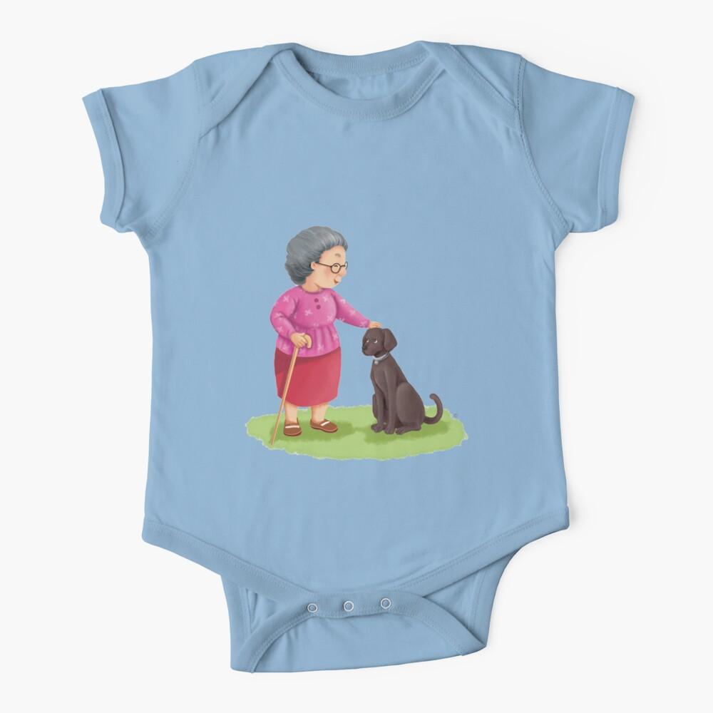 Grandma and Her Chocolate Labrador Baby One-Piece