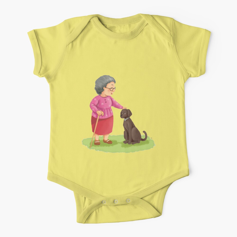 Grandma and Her Chocolate Labrador Baby One-Piece