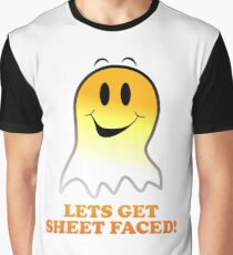 Funny Halloween Ghost Design - Lets Get Sheet Faced Graphic T-Shirt