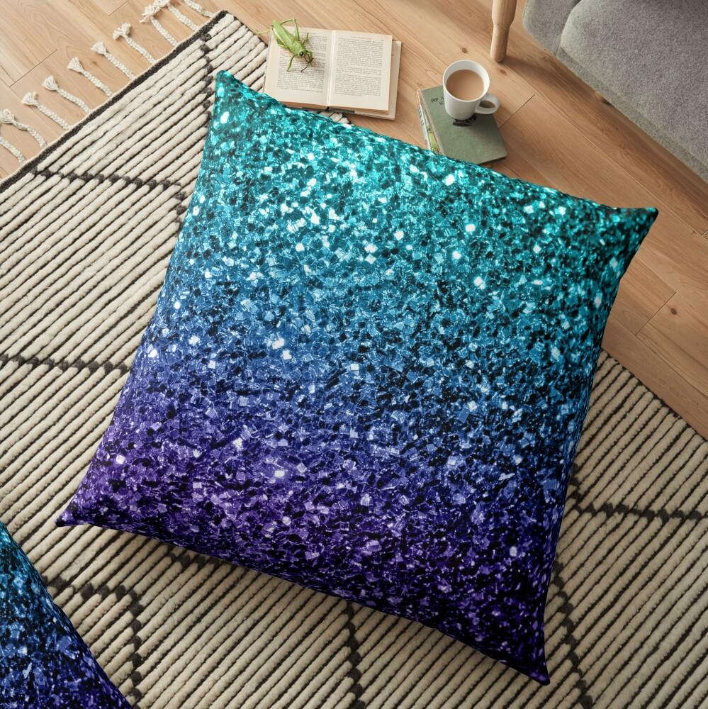 Beautiful Aqua blue Ombre glitter sparkles Floor Pillow
