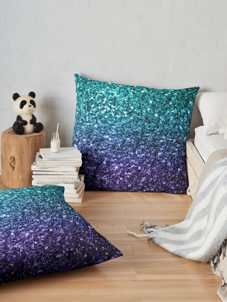 Alternate view of Beautiful Aqua blue Ombre glitter sparkles Floor Pillow