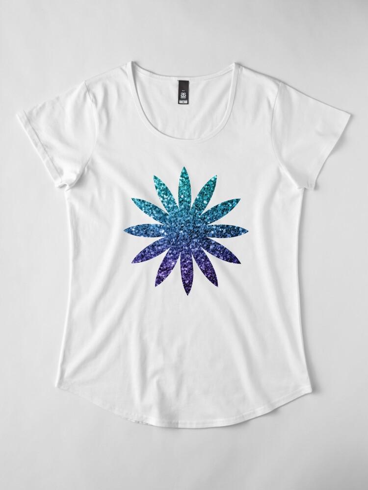 Alternative Ansicht von Wunderschönes Aqua Blue Ombre Glitter funkelt Premium Rundhals-Shirt