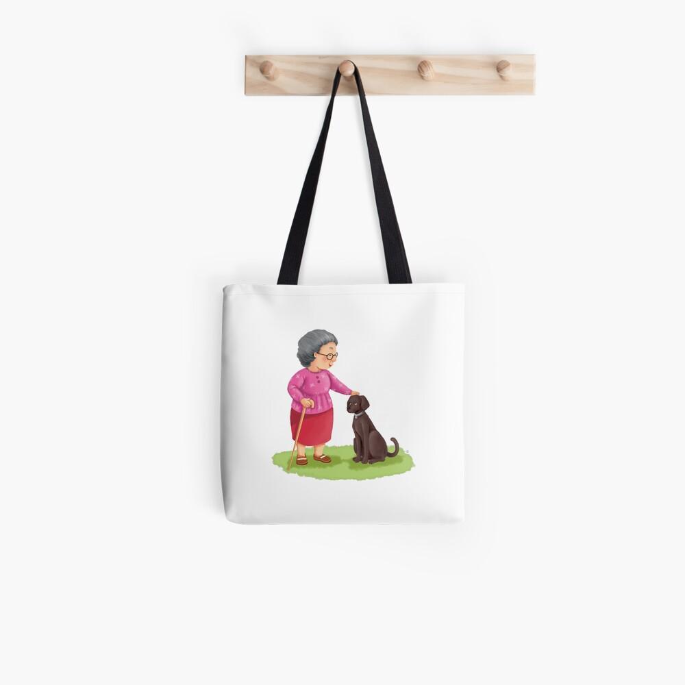 Grandma and Her Chocolate Labrador Tote Bag