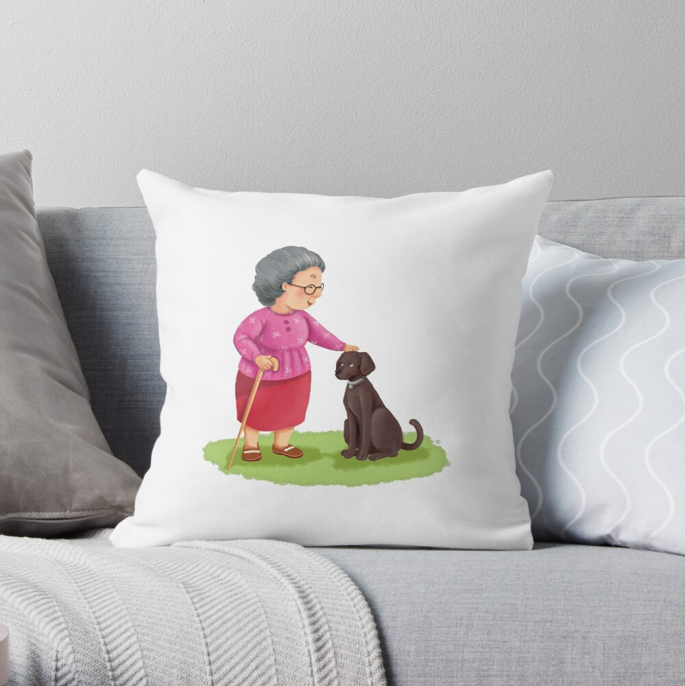 Grandma and Her Chocolate Labrador Throw Pillow