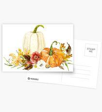 Watercolor Fall Autumn Floral Pumpkins n Leaves Postcards