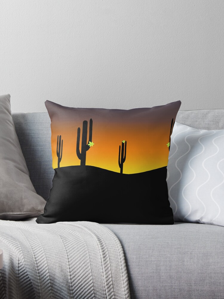 Sunset and Saguaro Cactus Flowers  by Gravityx9