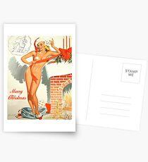 Pin-up sexy blonde Mädchen kommt aus der Post Tasche mit Weihnachtsbotschaft Postkarten