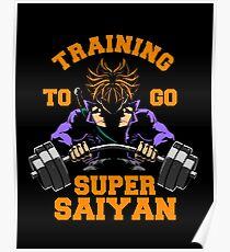 training to go super saiyan from future gym workout fit power energy Poster