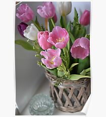 Modern Pink And White Pastel Coloured Tulips Poster