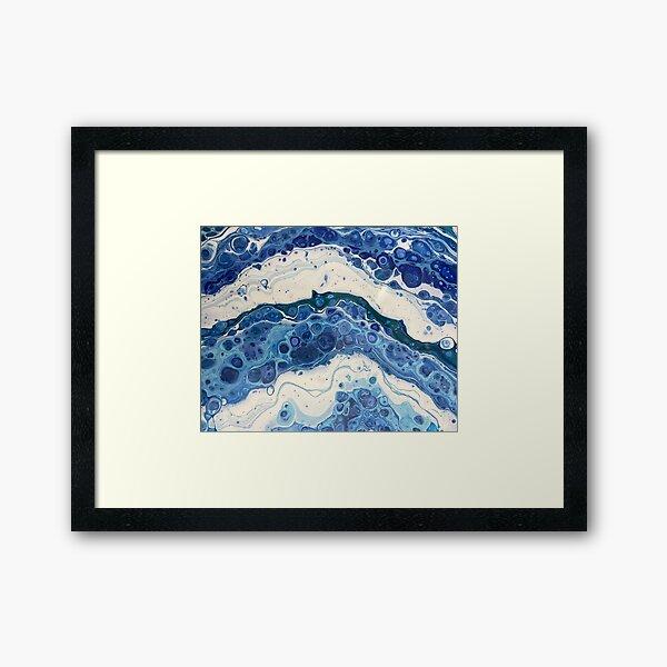 Waves Crashing Acrylic Pour Framed Art Print