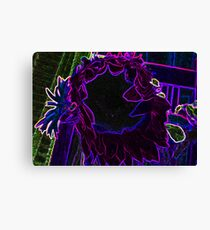 Neon Vibrant Purple Blue and Green Sun Flower Abstract Design Canvas Print