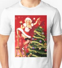 Pin up blond sexy girl is decorating Christmas tree T-Shirt