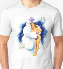 Lucky Snowman is hugging sexy pin up blond girl T-Shirt