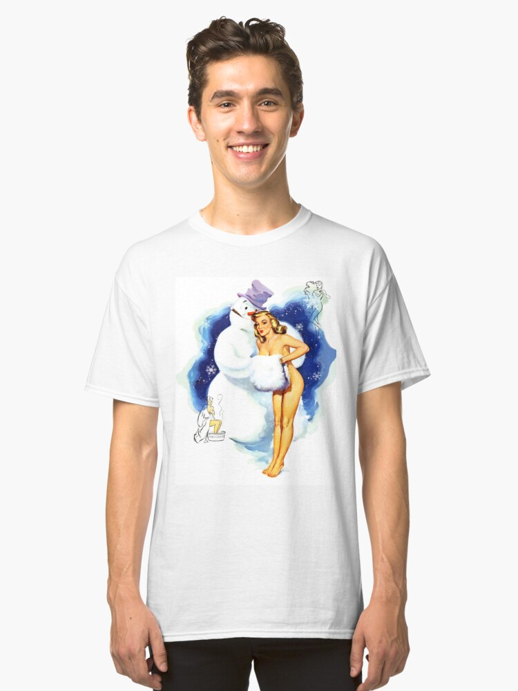 e6ea66390 Lucky Snowman is hugging sexy pin up blond girl Classic T-Shirt