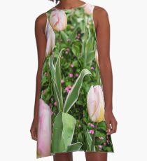 Pink Tulips A-Line Dress