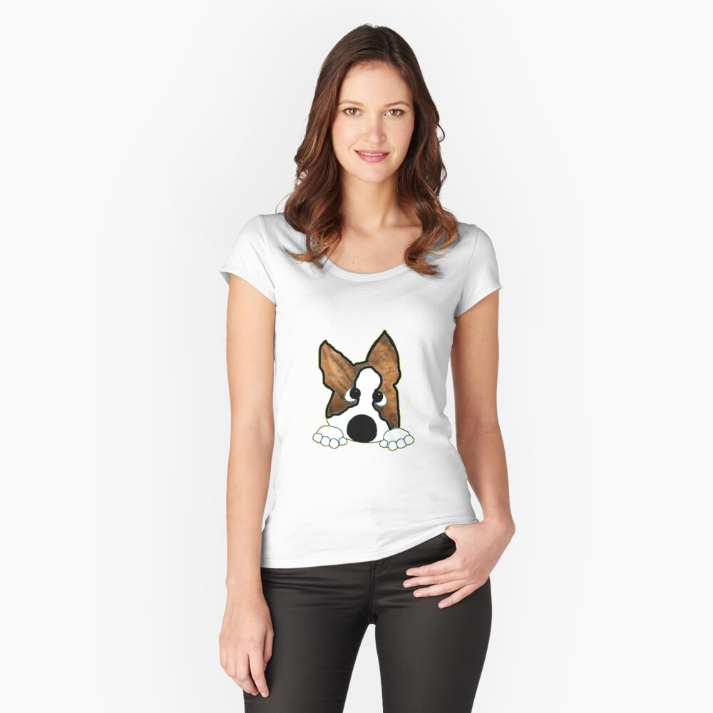boston terrier brindle and white peeking Women's Fitted Scoop T-Shirt Front